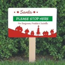 Personalised Santa Stop Here Sign - Christmas Village Design